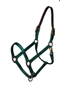 BREAKAWAY 3/4″ ADJUSTABLE NYLON HALTER, DURABLE BRONZE HARDWARE, breakaway, halter, nylon, Triple E Manufacturing, breakaway halter