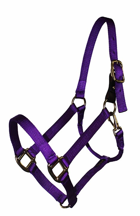 BREAKAWAY 1″ NYLON HALTER WITH REPLACEABLE LEATHER BUCKLE AND SNAP, DURABLE BRONZE HARDWARE, halter, nylon, breakaway, Triple E Manufacturing