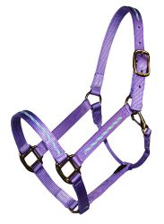 BRAIDED TRIM OVERLAY 1″ HALTER WITH SNAP, DURABLE BRONZE HARDWARE, halter, nylon, braided overlay, Triple E Manufacturing