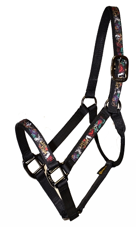 "Economy 1"" Nylon Halter with Overlay, Lightweight Bronze Hardware, No Snap"