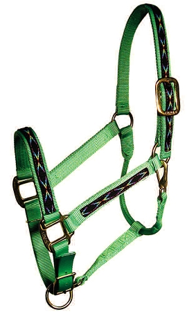 "Economy 1"" Adjustable Nylon Halter with Overlay, Lightweight Bronze Hardware, economy 1"" adjustable halter, Triple E Manufacturing"