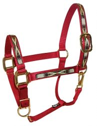 "Draft Halter, 1"" Premium Nylon Adjustable Halter w/Overlay, Durable Bronze Hardware"