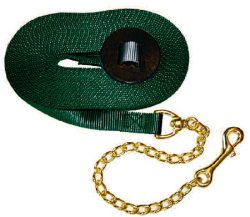 "Premium 1"" Nylon 30' Lunge Line w/Durable Bronze 20"" Chain & Leather Handhold, lunge, line, Triple E Manufacturing"