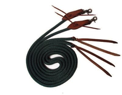 7' Split Reins with Poppers, Double-Braid Nylon Rope, 7' split reins, Triple E Manufacturing
