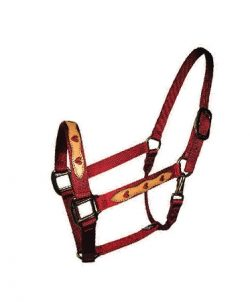 "1"" Leather Overlay Nylon Halter with Snap, Bronze Hardware, nylon horse halter with leather overlay, Triple E Manufacturing"