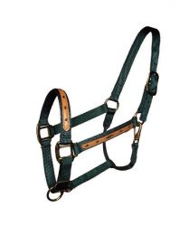 "1"" Leather Overlay Adjustable Nylon Halter with Snap, Bronze Hardware"