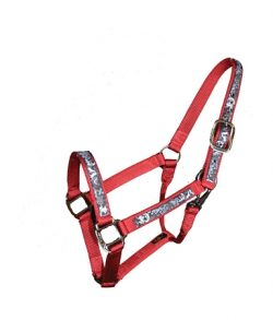 "Premium 1"" Nylon Halter with Overlay & Snap, Durable Steel Gray Hardware, nylon overlay, Triple E Manufacturing"
