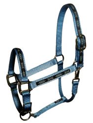 "Premium 1"" Nylon Adjustable Halter with Overlay, Durable Steel Gray Hardware"