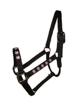 "Embroidered 1"" Nylon Halter, No Snap, Durable Steel Gray Hardware, horse, Triple E Manufacturing"