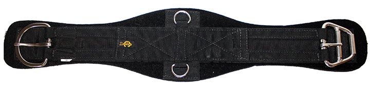 CONTOURED POLY WEB NEOPRENE CINCH W/ STAINLESS STEEL E-Z ROLLER BUCKLE & D-RINGS, poly, web, neoprene, contoured, cinch, girth, Triple E Manufacturing