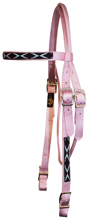 Brow Band Headstall with Southwest Overlay & Conway Buckles