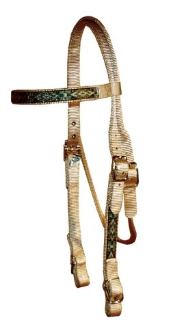 Brow Band Headstall with Southwest Overlay & Buckle Ends
