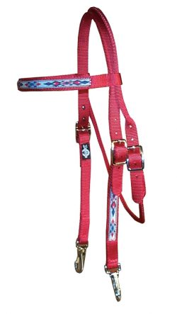 Brow Band Headstall with Southwest Overlay & Snap Ends