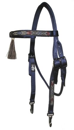 Brow Band Headstall with Horsehair Tassel, Overlay & Snap Ends
