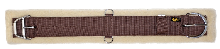 Poly Web Girth w/ Removable Soft Lambs Wool Pad, Stainless Steel E-Z Roller Buckle & D-Rings