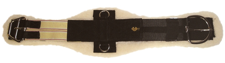 Contoured Poly Web Girth w/ Single End Elastic & Removable Soft Lambs Wool Pad, Single End Elastic, Stainless Steel E-Z Roller Buckle  & D-Rings