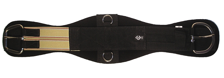Contoured Poly Web Neoprene Girth w/ Single End Elastic, Stainless Steel E-Z Roller & Flat Buckles