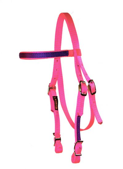 NYLON MINI HEADSTALL WITH CONWAY BUCKLES & OVERLAY, 5/8″ NYLON, mini, headstall, overlay, nylon, Triple E Manufacturing