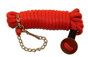 30′ POLY ROPE LUNGE LINE WITH BRONZE MALLEABLE IRON CHAIN & LEATHER HAND HOLD, poly, rope, lunge, line, leather, hand, hold, Triple E Manufacturing, 30' poly rope lunge line