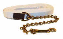 "30' Cotton Web Lunge Line with 20"" Brass Plate Chain & 6"" Handle"