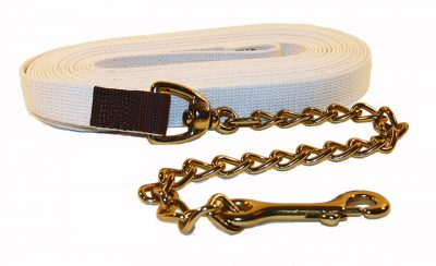 "30' Cotton Web Lunge Line with 20"" Brass Plate Chain & 6"" Handle, cotton, cotton web, lunge line, Triple E Manufacturing"
