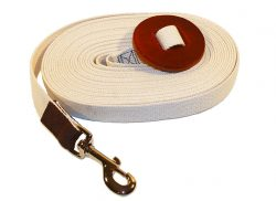 30' Cotton Web Lunge Line with Brass Plate Bolt Snap & Leather Hand Hold