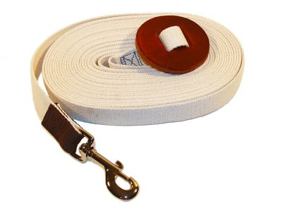 30′ COTTON WEB LUNGE LINE WITH BRASS PLATE BOLT SNAP & LEATHER HAND HOLD, cotton, web, lunge, line, leather, hand, hold, Triple E Manufacturing