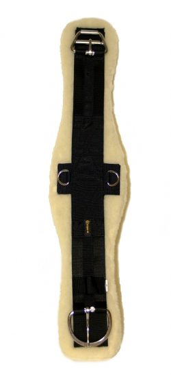CONTOURED POLY WEB CINCH W/ REMOVABLE SOFT LAMBS WOOL PAD, STAINLESS STEEL E-Z ROLLER BUCKLE & D-RINGS, contoured, poly, web, cinch, removable, soft, lambs, wool, pad, Triple E Manufacturing