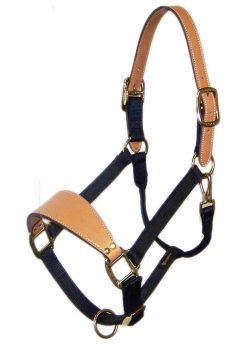 BRONC ADJUSTABLE HALTER WITH LEATHER NOSE & CROWN, MALLEABLE IRON HARDWARE, bronc, adjustable, halter, leather, nose, crown, Triple E Manufacturing