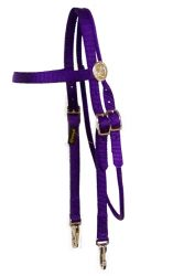 Brow Band Headstall with Rosettes and Snaps