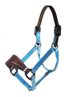 BRONC HALTER WITH LEATHER NOSE & CROWN, NO SNAP, STEEL GRAY HARDWARE, bronc, halter, leather, nose, crown, nylon, Triple E Manufacturing