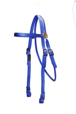 BROWBAND HEADSTALL WITH ROSETTES AND CONWAY BUCKLES, browband, headstall, nylon, Triple E Manufacturing