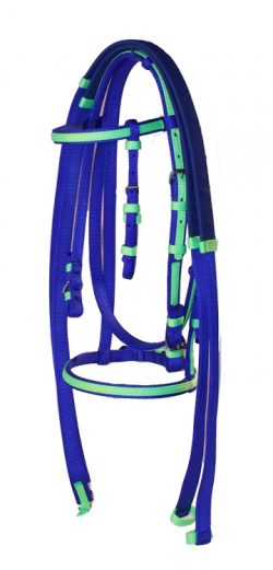 RACE BRIDLE WITH OVERLAY & DOUBLE PLY REINS, race, bridle, overlay, reins, nylon, Triple E Manufacturing