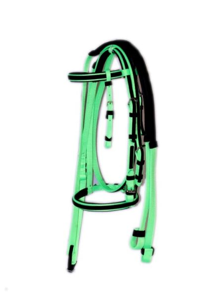 PADDED RACE BRIDLE WITH OVERLAY & SINGLE PLY REINS, padded, race, bridle, overlay, reins, nylon, Triple E Manufacturing