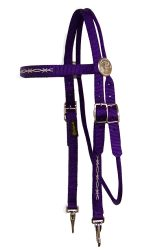 Brow Band Headstall with Embroidery, Decorative Rosettes and Snaps