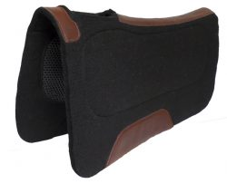CONTOURED BLACK ORTHOPEDIC FELT SADDLE PAD W/COMFORT GRIP PANELS, 32″ X 32″ X 1/2″, contoured, black, orthopedic, felt, saddle, pad, comfort, grip, panels, Triple E Manufacturing