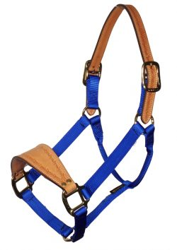 BRONC HALTER WITH LEATHER NOSE & CROWN, NO SNAP, MALLEABLE IRON HARDWARE, bronc, halter, leather, nylon, Triple E Manufacturing