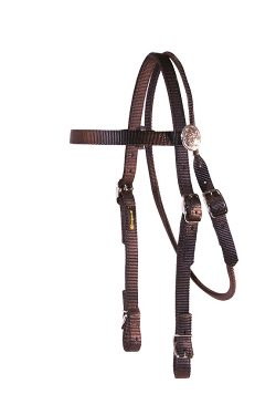 BROWBAND HEADSTALL WITH ROSETTES AND BUCKLES, browbank, headstall, nylon, Triple E Manufacturing