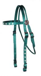 Brow Band Headstall with Embroidery, Decorative Rosettes and Conway Buckles