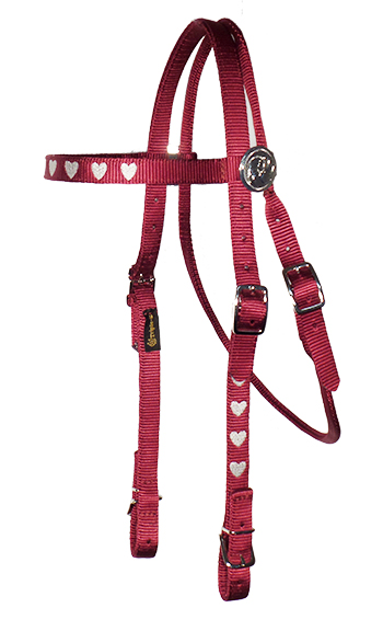 BROWBAND HEADSTALL WITH EMBROIDERY, DECORATIVE ROSETTES AND BUCKLES, browband, headstall, embroidery, nylon, Triple E Manufacturing