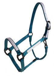 "Draft Halter, 1"" Premium Nylon Halter w/Snap & Overlay, Durable Steel Gray Hardware"