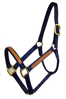 1″ LEATHER OVERLAY NYLON HALTER, NO SNAP, BRONZE HARDWARE, leather, overlay, nylon, halter, Triple E Manufacturing