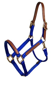 1″ LEATHER OVERLAY NYLON HALTER WITH SNAP & LEATHER CROWN, BRONZE HARDWARE, leather, overlay, nylon, halter, crown, Triple E Manufacturing, leather overlay nylon halter