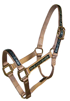 PREMIUM 1″ NYLON HALTER WITH OVERLAY, NO SNAP, DURABLE BRONZE HARDWARE, nylon, halter, overlay, Triple E Manufacturing