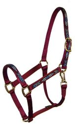 "Premium 3/4"" Nylon Halter with Overlay & Snap, Durable Bronze Hardware"