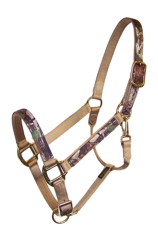 REALTREE® CAMOUFLAUGE 2-PLY NYLON ADJUSTABLE CAMOUFLAGE HALTER, BASIC BRONZE HARDWARE, camouflage, nylon, adjustable, halter, Triple E Manufacturing