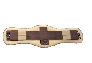 "Contoured Endurance Girth w/ Double End Elastic & Removable Lambs Wool Pad & 1-1/4"" Stainless Steel Roller Buckles"