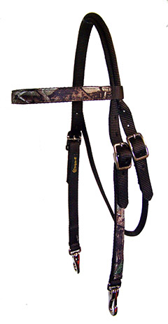 REALTREE® CAMOUFLAGE BROWBAND HEADSTALL WITH SNAPS, camouflage, browband, headstall, Triple E Manufacturing