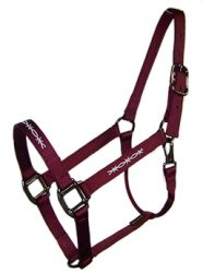 EMBROIDERED 1″ NYLON HALTER W/ SNAP – DURABLE STEEL GRAY HARDWARE, nylon, halter, embroidered, Triple E Manufacturing