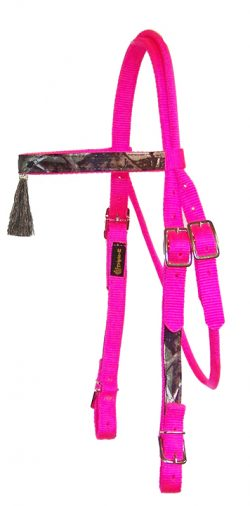 REALTREE® CAMOUFLAGE BROWBAND HEADSTALL WITH TASSEL & BUCKLES, browband, camouflage, headstall, nylon, Triple E Manufacturing